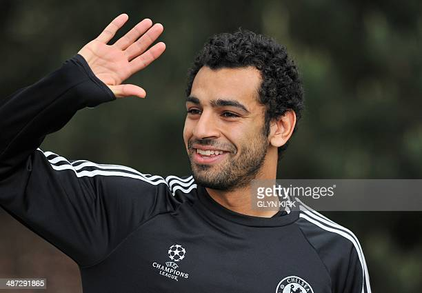 Chelsea's Egyptian midfielder Mohamed Salah attends a training session at the team's training ground in Cobham south of London on April 29 on the eve...