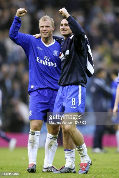 Chelsea's Eidur Gudjohnsen and Frank Lampard celebrate at the end of the match