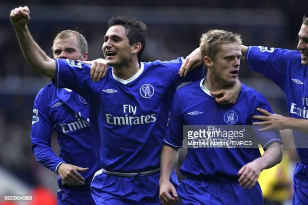 Chelsea's Eidur Gudjohnsen and Frank Lampard celebrate with goalscorer Damien Duff