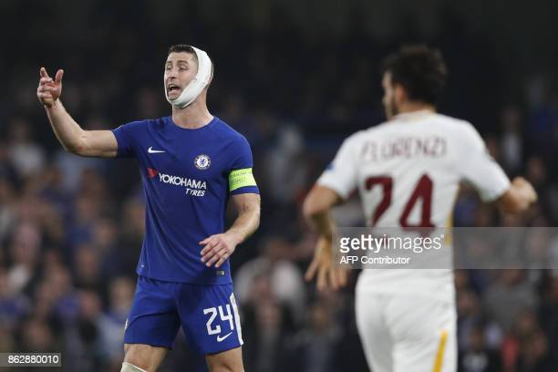 Chelsea's English defender Gary Cahill gestures during a UEFA Champions league group stage football match between Chelsea and Roma at Stamford Bridge...