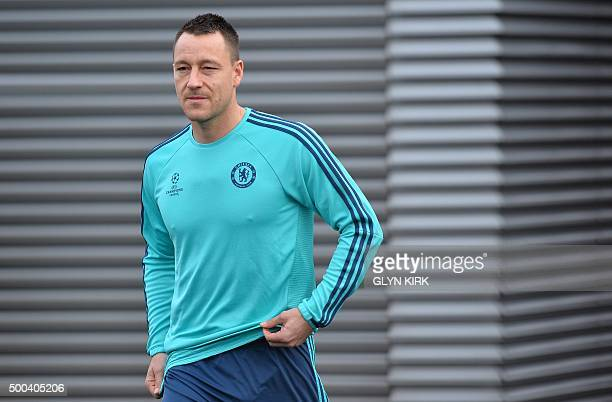 Chelsea's English defender John Terry attends a training session on the eve of a UEFA Champions League group G football match against Porto at...