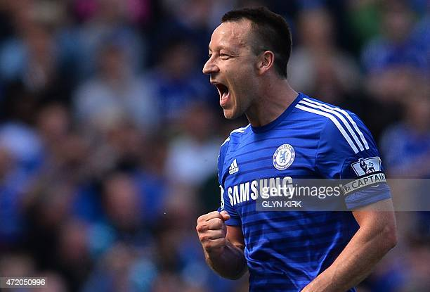 Chelsea's English defender John Terry celebrates after the English Premier League football match between Chelsea and Crystal Palace at Stamford...