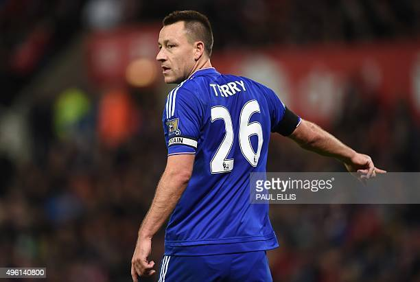 Chelsea's English defender John Terry gestures during the English Premier League football match between Stoke City and Chelsea at the Britannia...