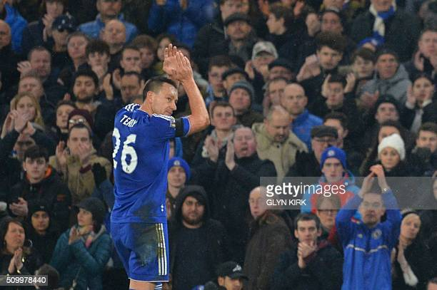 Chelsea's English defender John Terry leaves the pitch after being substituted during the English Premier League football match between Chelsea and...
