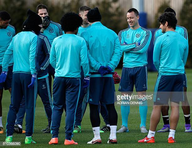 Chelsea's English defender John Terry participates in a team training session at the club's complex in Cobham Surrey on February 15 2016 Chelsea play...