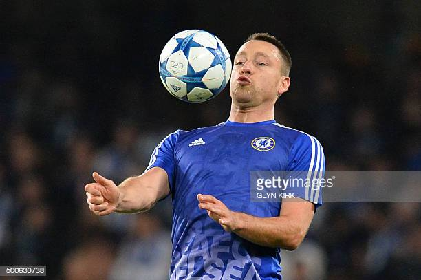 Chelsea's English defender John Terry warms up before kick off of the UEFA Champions League Group G football match between Chelsea and Porto at...