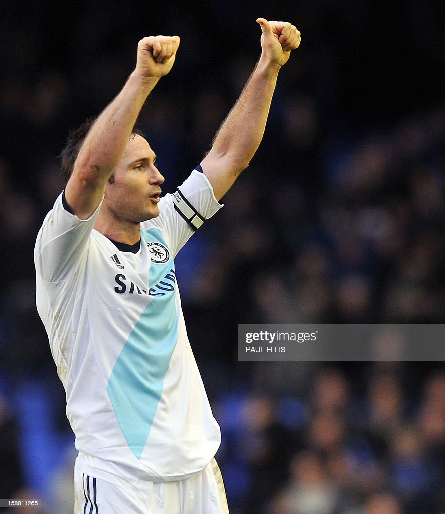 Chelsea's English midfielder Frank Lampard celebrates at the end of the English Premier League football match between Everton and Chelsea at Goodison Park in Liverpool, England, on December 30, 2012. Chelsea won the match 2-1.