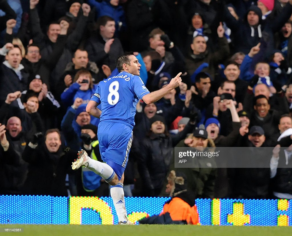 Chelsea's English midfielder Frank Lampard celebrates scoring Chelsea's third goal during the English Premier League football match between Chelsea and Wigan Athletic at Stamford Bridge in London on February 9, 2013. Chelsea won 4-1. USE. No use with unauthorized audio, video, data, fixture lists, club/league logos or 'live' services. Online in-match use limited to 45 images, no video emulation. No use in betting, games or single club/league/player publications.