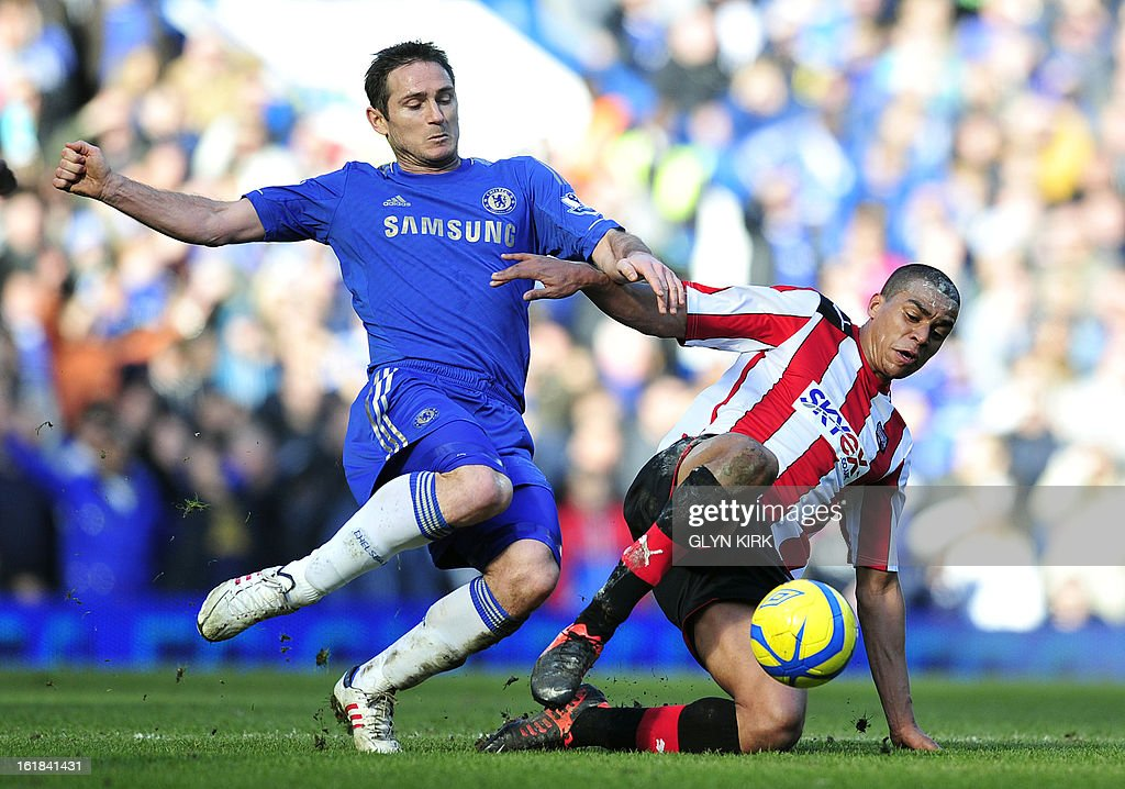 "Chelsea's English midfielder Frank Lampard (L) vies with Brentford's English midfielder Tom Adeyemi (R) during the English FA Cup fourth round replay football match between Chelsea and Brentford at Stamford Bridge in London on February 17, 2013. USE. No use with unauthorized audio, video, data, fixture lists, club/league logos or ""live"" services. Online in-match use limited to 45 images, no video emulation. No use in betting, games or single club/league/player publications."