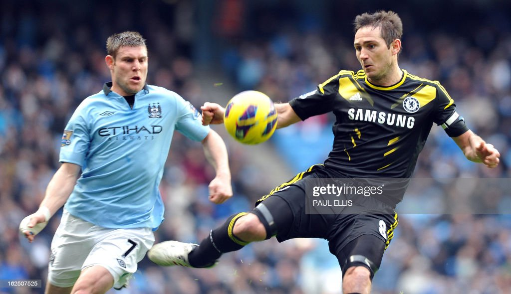 """Chelsea's English midfielder Frank Lampard (R) vies with Manchester City's English midfielder James Milner (L) during the English Premier League football match between Manchester City and Chelsea at the Etihad Stadium in Manchester, northwest England, on February 24, 2013. AFP PHOTO/PAUL ELLIS USE. No use with unauthorized audio, video, data, fixture lists, club/league logos or """"live"""" services. Online in-match use limited to 45 images, no video emulation. No use in betting, games or single club/league/player publications."""