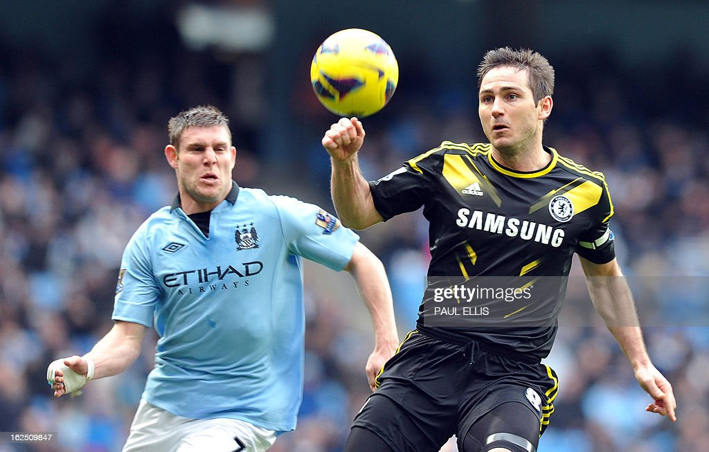 "Chelsea's English midfielder Frank Lampard (R) vies with Manchester City's English midfielder James Milner (L) during the English Premier League football match between Manchester City and Chelsea at the Etihad Stadium in Manchester, northwest England, on February 24, 2013. USE. No use with unauthorized audio, video, data, fixture lists, club/league logos or ""live"" services. Online in-match use limited to 45 images, no video emulation. No use in betting, games or single club/league/player publications."