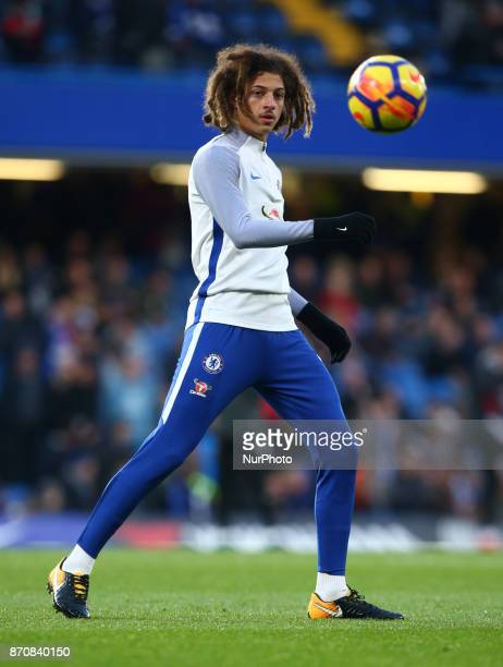 Chelsea's Ethan Ampadu during the prematch warmup during the Premier League match between Chelsea and Manchester United at Stamford Bridge London...