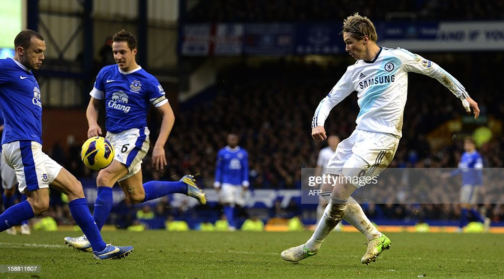 Chelsea's Fernando Torres (R) has a shot blocked during the English Premier League football match between Everton and Chelsea at Goodison Park in Liverpool, England on December 30, 2012. AFP PHOTO/Paul Ellis - RESTRICTED