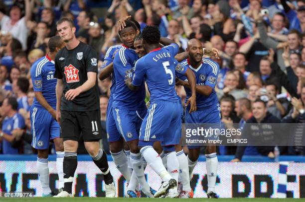 Chelsea's Florent Malouda celebrates scoring his sides first goal of the game with team mates Michael Essien John Obi Mikel and Nicolas Anelka as...