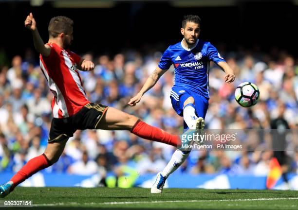 Chelsea's Francesc Fabregas shoots towards goal during the Premier League match at Stamford Bridge London