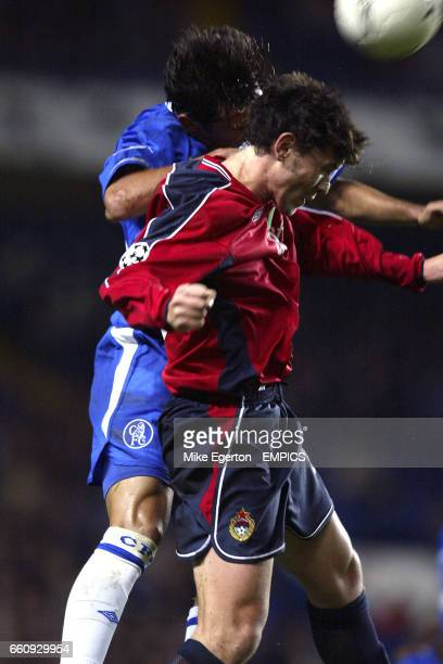 Chelsea's Frank Lampard and CSKA Moscow's Yuri Zhirkov jump for the ball