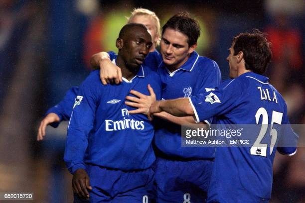 Chelsea's Frank Lampard and Gianfranco Zola celebrate with Jimmy Floyd Hasselbaink after he scored the third goal against Sunderland