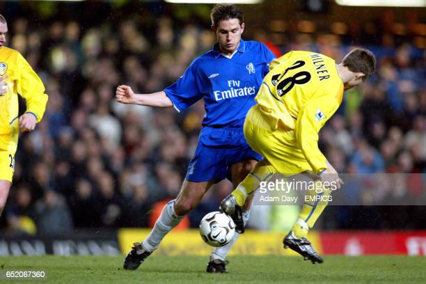 Chelsea's Frank Lampard and Leeds United's James Milner battle for the ball