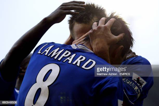 Chelsea's Frank Lampard celebrates his goal with teammate John Terry