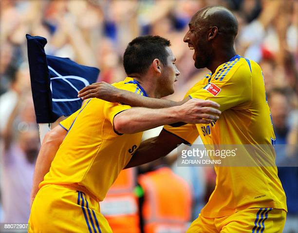 Chelsea's Frank Lampard celebrates with teammate Nicolas Anelka after scoring against Everton in the FA Cup final at Wembley in north Londonon May 30...