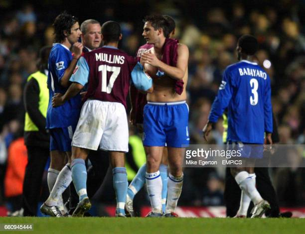 Chelsea's Frank Lampard has words with West Ham United's Hayden Mullins at the end of the game