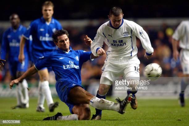 Chelsea's Frank Lampard tackles Everton's Wayne Rooney