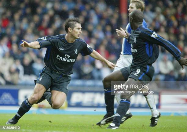 Chelsea's Frank Lampard wheels away to celebrate with teammate Jimmy Floyd Hasselbaink his second goal against Blackburn Rovers during their...