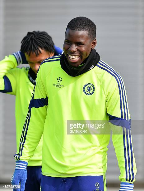 Chelsea's French defender Kurt Zouma smiling during a training session at Chelsea's training ground in Stoke D'Abernon south of London on March 10...