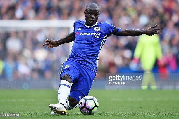 Chelsea's French midfielder N'Golo Kante controls the ball during the English Premier League football match between Chelsea and Leicester City at...