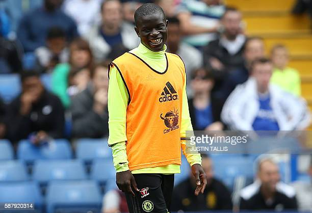 Chelsea's French midfielder N'Golo Kante is pictured as he takes part in a training session at Chelsea's Stamford Bridge Stadium in London on August...