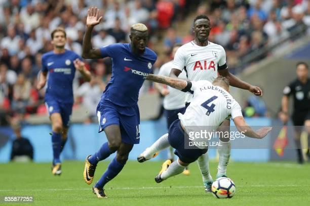 Chelsea's French midfielder Tiemoue Bakayoko takes on Tottenham Hotspur's Belgian defender Toby Alderweireld during the English Premier League...