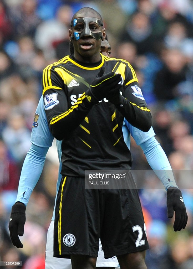 """Chelsea's French-born Senegalese striker Demba Ba gestures during the English Premier League football match between Manchester City and Chelsea at the Etihad Stadium in Manchester, northwest England, on February 24, 2013. USE. No use with unauthorized audio, video, data, fixture lists, club/league logos or """"live"""" services. Online in-match use limited to 45 images, no video emulation. No use in betting, games or single club/league/player publications."""