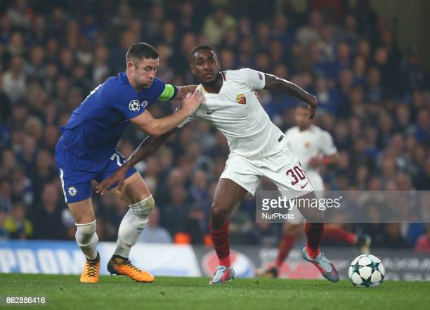 Chelsea's Gary Cahill and Gerson of Roma during UEFA Champions League Group C MATCH 3 match between Chelsea against AS Roma at Stamford Bridge London...