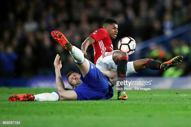 Chelsea's Gary Cahill and Manchester United's Marcus Rashford battle for the ball
