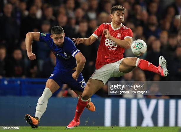 Chelsea's Gary Cahill and Nottingham Forest's Tyler Walker battle for the ball during the Carabao Cup Third Round match at Stamford Bridge London