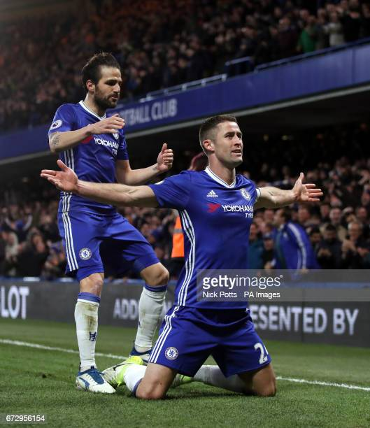 Chelsea's Gary Cahill celebrates scoring his side's second goal of the game with Cesc Fabregas during the Premier League match at Stamford Bridge...