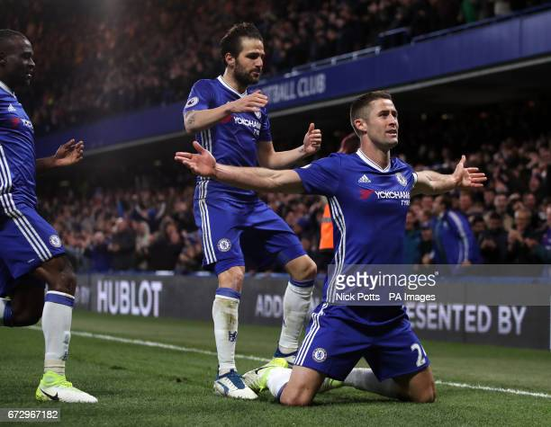Chelsea's Gary Cahill celebrates scoring his side's second goal of the game with Cesc Fabregas and Victor Moses during the Premier League match at...