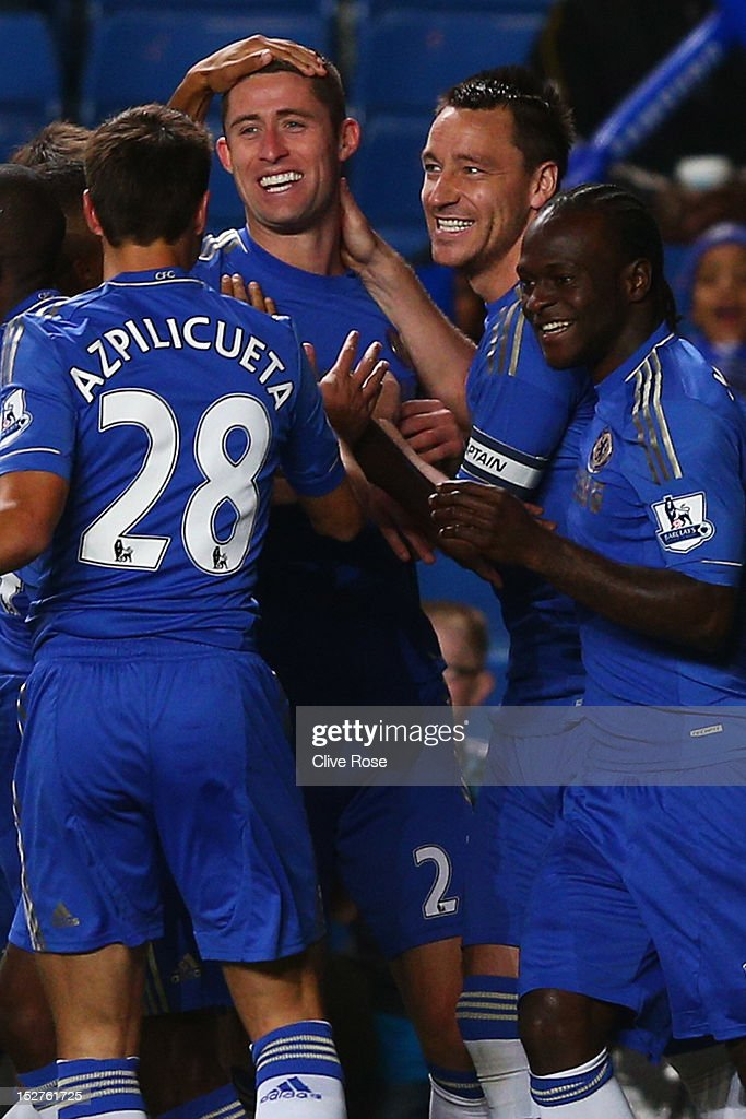 Chelsea's Gary Cahill celebrates scoring the first goal of the match with temmates Cesar Azpilicueta, John Terry and Victor Moses during the Capital One Cup third round match between Chelsea and Wolverhampton Wanderers at Stamford Bridge on September 25, 2012 in London, England.