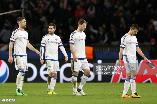 Chelsea's Gary Cahill Cesc Fabregas Branislav Ivanovic and Cesar Azpilicueta look dejected after the final whistle