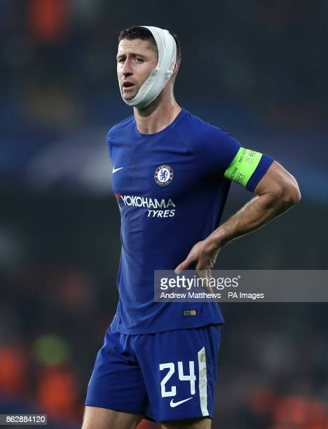 Chelsea's Gary Cahill during the UEFA Champions League Group C match at Stamford Bridge London