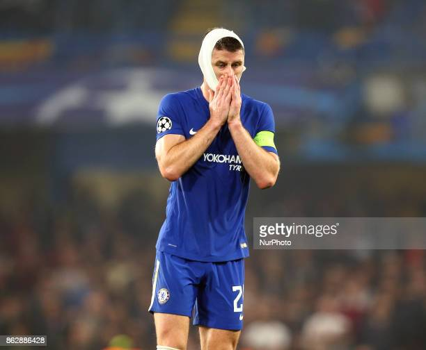 Chelsea's Gary Cahill during UEFA Champions League Group C MATCH 3 match between Chelsea against AS Roma at Stamford Bridge London on 18 Oct 2017