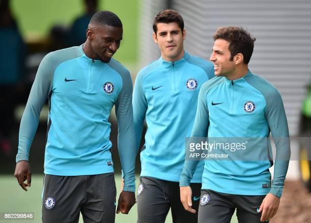 Chelsea's German defencer Antonio Rudiger Chelsea's Spanish striker Alvaro Morata and Chelsea's Spanish midfielder Cesc Fabregas attend a team...