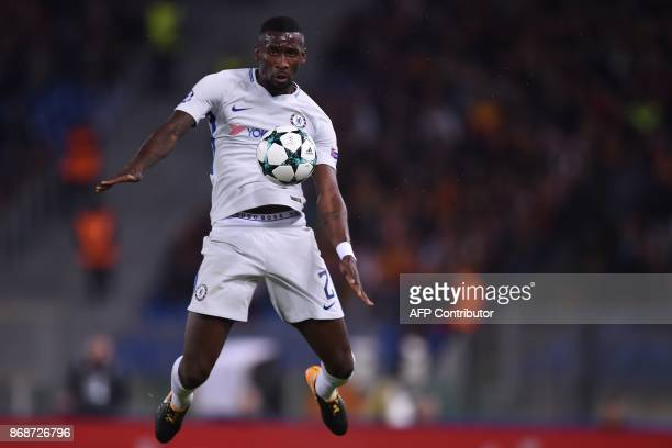 Chelsea's German defender Antonio Rudiger controls the ball during the UEFA Champions League football match AS Roma vs Chelsea on October 31 2017 at...