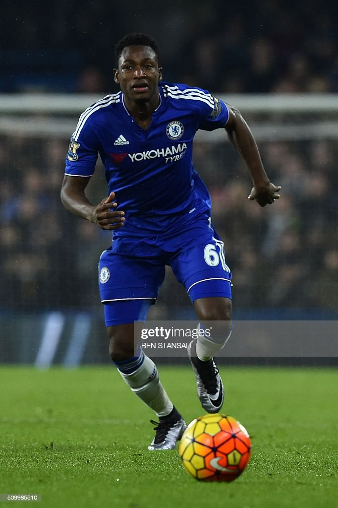Chelsea's Ghanaian defender Baba Rahman chases the ball during the English Premier League football match between Chelsea and Newcastle United at Stamford Bridge in London on February 13, 2016. / AFP / BEN STANSALL / RESTRICTED TO EDITORIAL USE. No use with unauthorized audio, video, data, fixture lists, club/league logos or 'live' services. Online in-match use limited to 75 images, no video emulation. No use in betting, games or single club/league/player publications. /