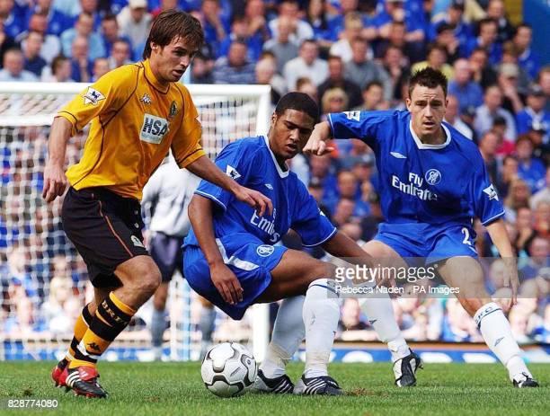Chelsea's Glen Johnson and John Terry with Blackburn's Matt Jansen in action during their FA Premiership match at Chelsea's Stamford Bridge ground in...