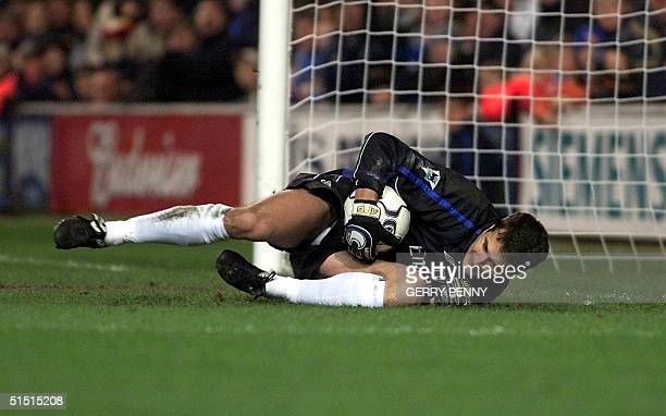 Chelsea's Goalkeeper Carlo Cudicini saves a penalty from Liverpool's Gay McAllister 16 December 2001 during their Premiership soccer match at...