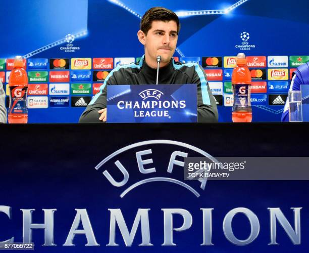 Chelsea's goalkeeper from Belgium Thibaut Courtois attends a press conference in Baku on November 21 2017 on the eve of the UEFA Champions League...