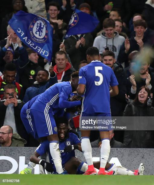 Chelsea's Ike Ugbo celebrates with his team mates after he scores his side's second goal of the game during the FA Youth Cup Final First Leg match at...
