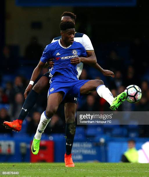 Chelsea's Ike Ugbo holds the ball up from Spurs Jonathan Dinzeyi during the FA Youth Cup Semi Final Second Leg between Chelsea and Tottenham Hotspur...