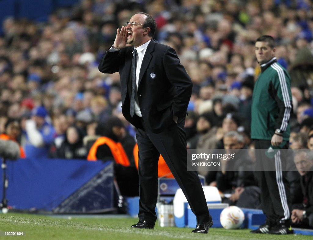 Chelsea's Interim Spanish Interim manager Rafael Benitez gestures during the UEFA Europa League round of 32 football match between Chelsea and Sparta Prague in London on February 21, 2013. The game finished 1-1, Chelsea winning the tie 2-1.
